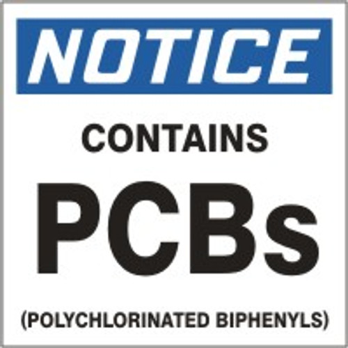 Pcb Labels- Notice Contains Pcbs (polychlorinated Biphenyls)