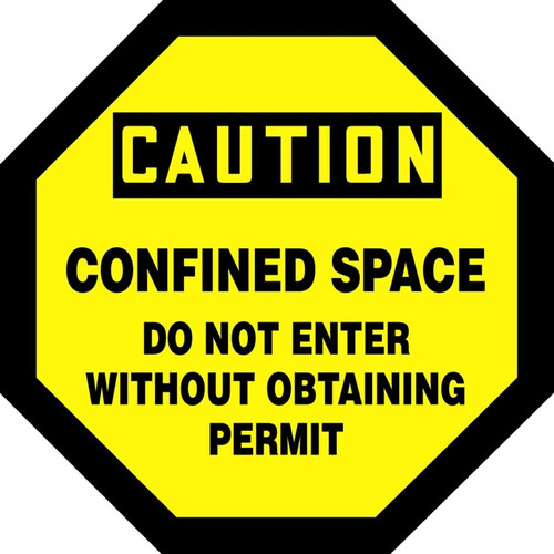 Caution - Confined Space Do Not Enter Without Obtaining Permit - Adhesive Dura-Vinyl - 12'' X 12''