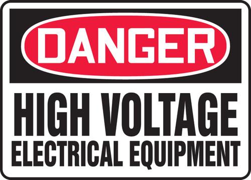 Danger - High Voltage Electrical Equipment - Adhesive Vinyl - 10'' X 14''