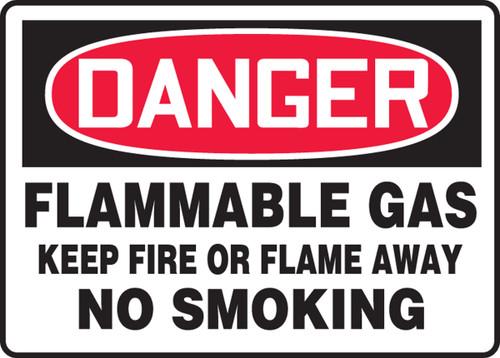 Danger - Flammable Gas Keep Fire Or Flame Away No Smoking