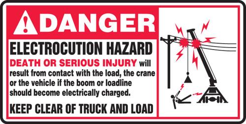 Danger - Electrocution Hazard Death Or Serious Injury....(W/Graphic) - Adhesive Vinyl - 7'' X 14''