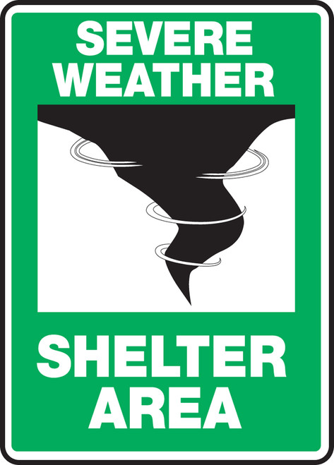 Severe Weather Shelter Area (W-Graphic) - Adhesive Vinyl - 14'' X 10''