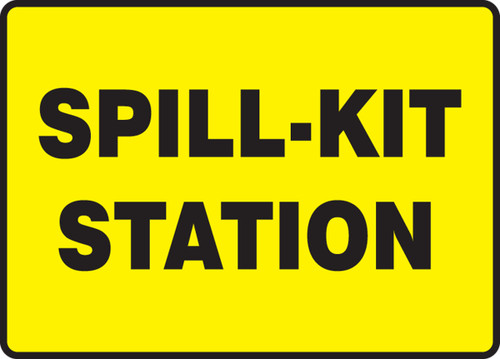 Spill-Kit Station (Black On Yellow) - Adhesive Vinyl - 7'' X 10''