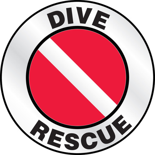 """Dive Rescue Hard Hat Label 2 1/4""""- Priced By The Each"""