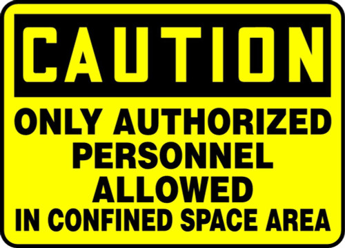 Caution - Only Authorized Personnel Allowed In Confined Space Area