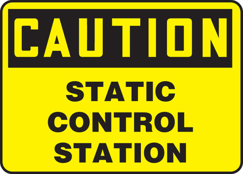 Caution static control station sign MECL634VS