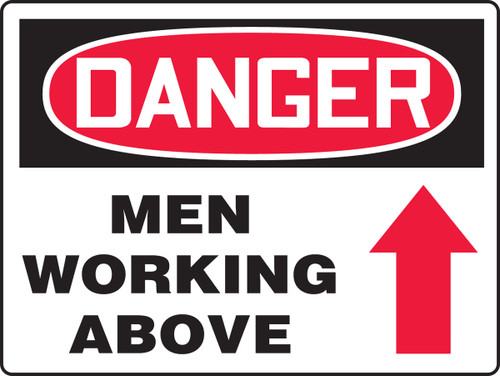 Danger - Men Working Above  Sign with Arrow Up