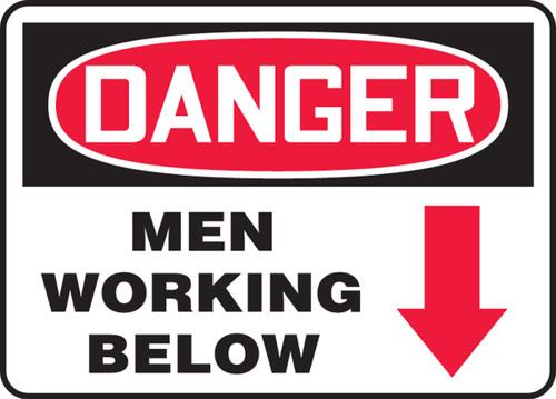 Danger - Men Working Below (Arrow) - Adhesive Dura-Vinyl - 7'' X 10''