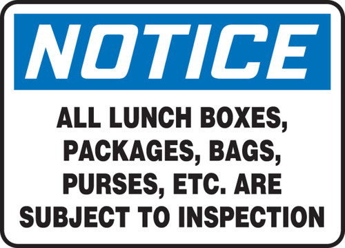 MADC822VS Notice all lunch boxes, packages, bags, purses, etc are subject to inspection sign