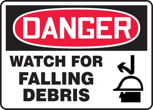 Danger - Watch For Falling Debris (W-Graphic) - Adhesive Dura-Vinyl - 10'' X 14''