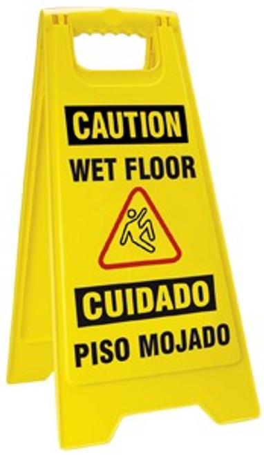 Caution Wet Floor Fold Up Sign - Bilingual