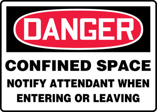 Danger - Confined Space Notify Attendant When Entering Or Leaving