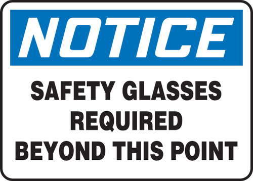 """Notice Safety Glasses Required Beyond This Point - Adhesive Vinyl - 10"""" X 14"""""""