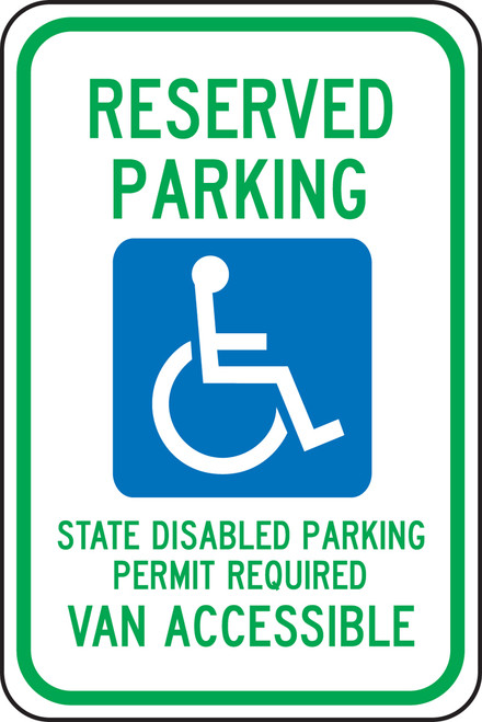 Reserved Parking State Disabled Parking Permit Required Van Accessible