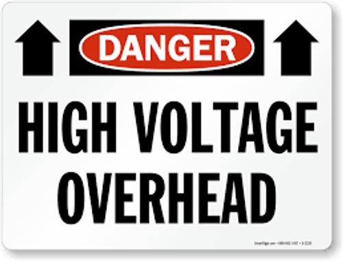 Danger - High Voltage Overhead (Arrow) - Re-Plastic - 18'' X 24''