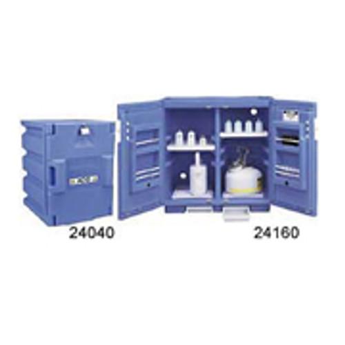 Justrite Blue Polyethylene Storage Cabinet-  two 4- liter bottles