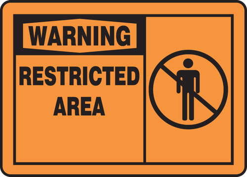 Warning - Restricted Area (W/Graphic) - Adhesive Dura-Vinyl - 10'' X 14''
