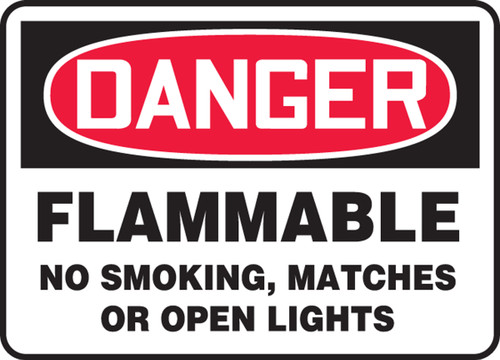 """Danger Flammable No Smoking, Matches Or Open Lights - Adhesive Vinyl - 10"""" X 14"""""""