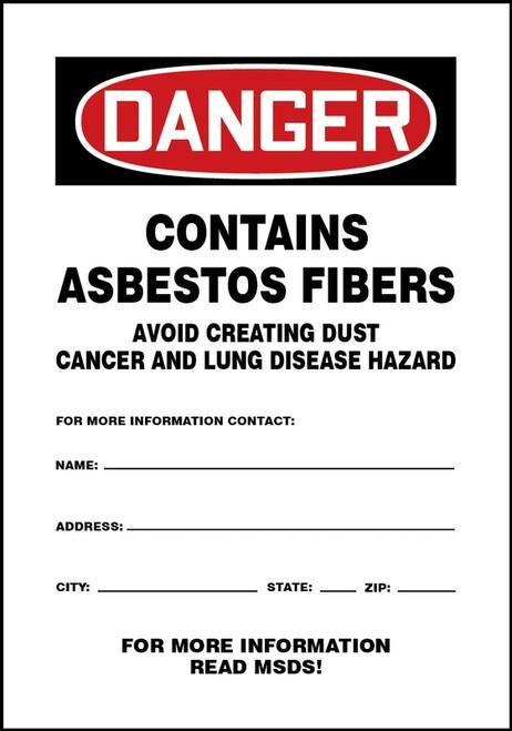 MCAW024VS Danger Contains Asbestos Fibers Sign