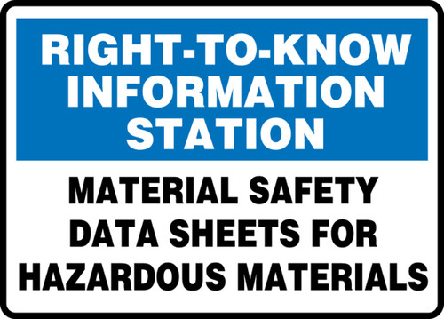 Right-To-Know Information Station Material Safety Data Sheets For Hazardous Materials - Plastic - 10'' X 14''