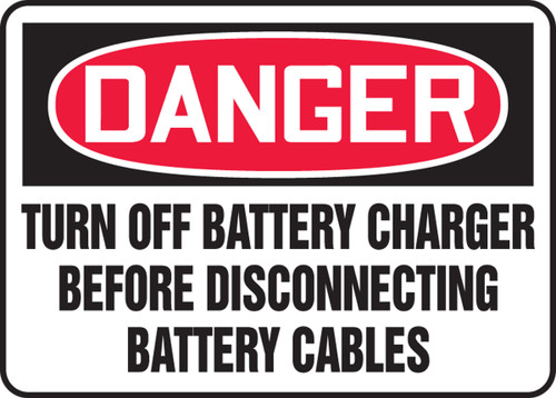Danger - Turn Off Battery Charger Before Disconnecting Battery Cables