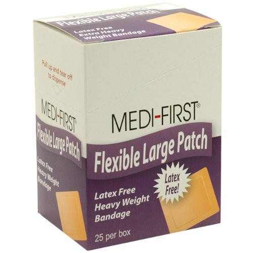 "Flexible Large Patch Bandage - 2"" x 3 1/2"" - Latex Free - 25/box"