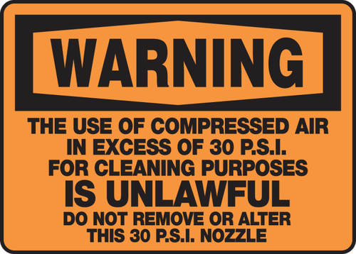 Warning - The Use Of Compressed Air In Excess Of 30 P.S.I.