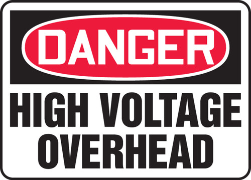 Danger - High Voltage Overhead - Adhesive Vinyl - 10'' X 14''
