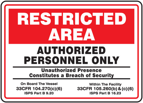 Restricted Area Authorized Personnel Only - .040 Aluminum - 12'' X 18''