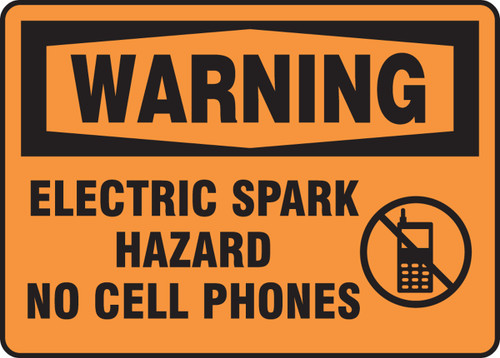 Warning - Warning Electric Spark Hazard No Cell Phones W/Graphic - Adhesive Dura-Vinyl - 10'' X 7''