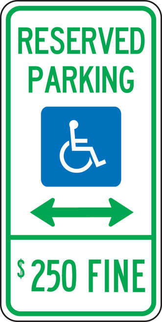 Illinois Handicap Reserved Parking $250 Fine Sign