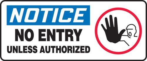 Notice - No Entry Unless Authorized (W/Graphic) - Adhesive Vinyl - 7'' X 17''