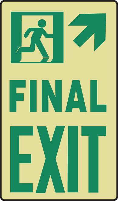 Final Exit Sign- Arrow Diagonal Up Right- Glow Sign