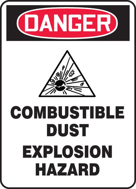 Danger Combustible Dust Explosion Hazard W/Graphic - .040 Aluminum - 10'' X 7''