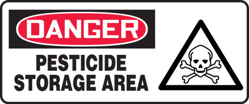 Danger - Pesticide Storage Area (W/Graphic) - Plastic - 7'' X 17''