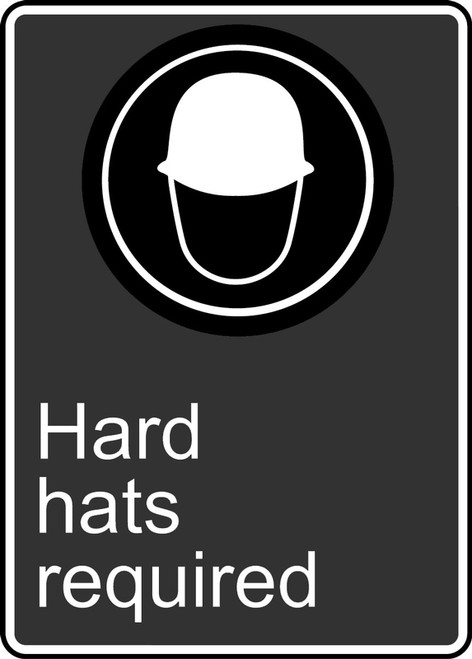 Hard Hats Required (Casques De Protection Obligatoires) - Plastic - 14'' X 10''