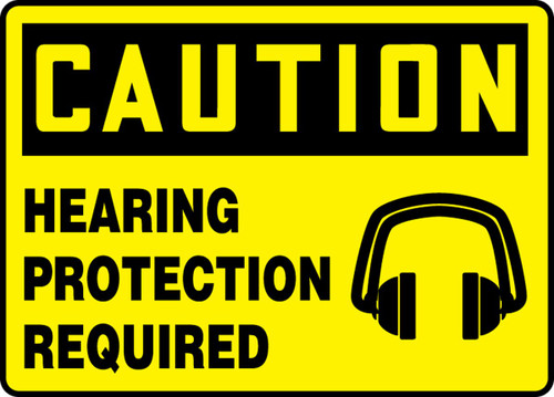 Caution - Hearing Protection Required (W/Graphic) - Re-Plastic - 10'' X 14''