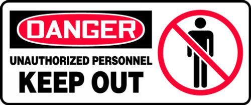 Danger - Unauthorized Personnel Keep Out (W/Graphic) - Adhesive Dura-Vinyl - 7'' X 17''