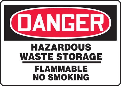 Danger - Hazardous Waste Storage Flammable No Smoking