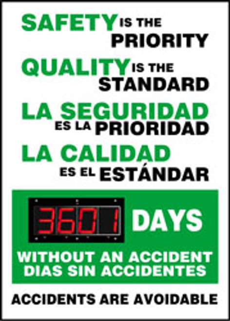 "Bilingual Safety Scoreboard- Safety Is The Priority Quality Is The Standard- 28"" X 20"""