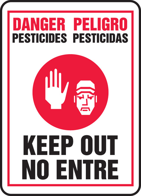 Danger Pesticides Keep Out (W/Graphic) (Bilingual) - Plastic - 20'' X 14''