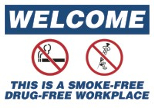 Changeable Sign Floor Mat- Welcome This Is A Smoke-free Drug-free Workplace