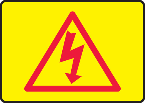 High Voltage Symbol (Red On Yellow) - Re-Plastic - 7'' X 10''