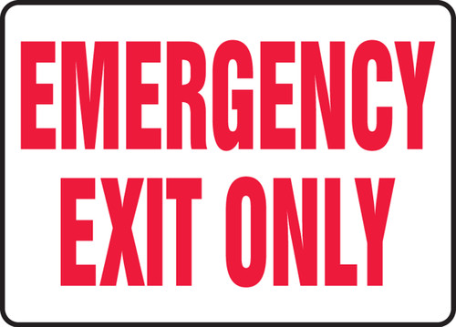 Emergency Exit Only - Plastic - 10'' X 14''