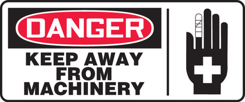 Danger - Keep Away From Machinery (W/Graphic) - Adhesive Vinyl - 7'' X 17''