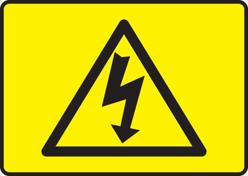 High Voltage Symbol  (Black On Yellow) - Plastic - 7'' X 10''