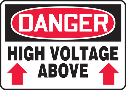 Danger - High Voltage Above (Arrow) - Accu-Shield - 10'' X 14''