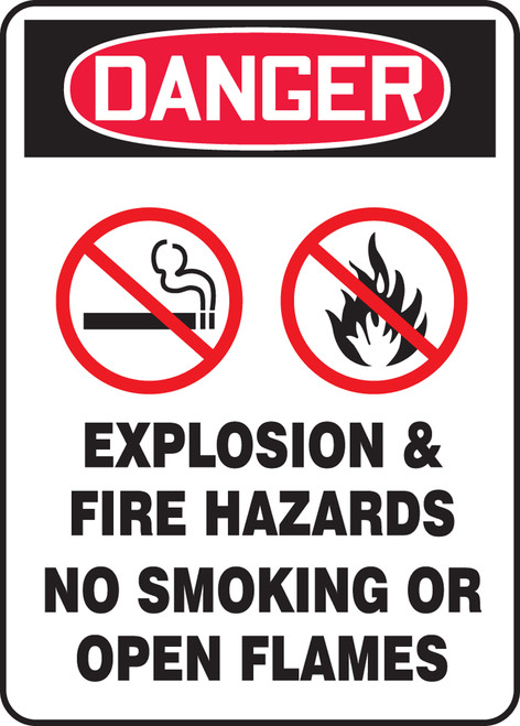 Danger - Danger Explosion & Fire Hazards No Smoking Or Open Flames W/Graphic - Adhesive Dura-Vinyl - 14'' X 10''