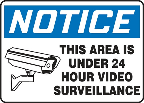 Notice - This Area Is Under 24 Hour Video Surveillance (W/Graphic) - Re-Plastic - 10'' X 14''