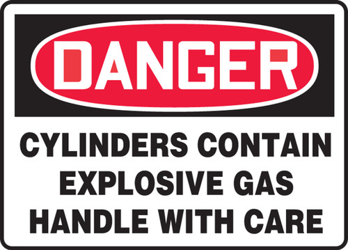 Danger - Cylinders Contain Explosive Gas Handle With Care - Adhesive Vinyl - 7'' X 10''